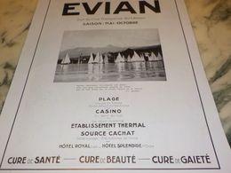 ANCIENNE PUBLICITE VOYAGE VACANCE EVIAN 1933 - Advertising