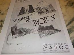 ANCIENNE PUBLICITE VISITEZ LE  MAROC 1933 - Advertising