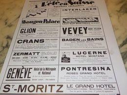 ANCIENNE PUBLICITE ETE VACANCES ENCHANTEE EN SUISSE  1933 - Advertising