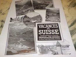 ANCIENNE PUBLICITE  VACANCES  EN SUISSE  1933 - Advertising