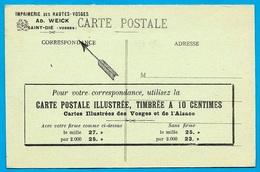 CPA Publicitaire éditeur De Cartes Postales AD. WEICK 88 St. SAINT-DIE Vosges (avec Tarifs) - Saint Die