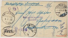 DR-Infla - Entlastet NO55/SW68, Portopfl. Dienst-Ortsbrief Berlin SW68 - 4.1.23 - Brieven
