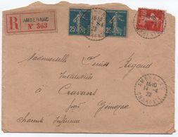 Yvert 140 25c SEMEUSE Millésime 8 Encadré De 1918 Papier GC Sur Lettre Recommandée AMBERNAC CHARENTE 1920 - 1906-38 Semeuse Con Cameo