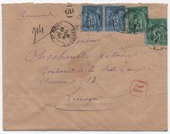 Lettre Recommandée Remise Au Facteur Rural (association R + OR) De Saint-Junien Haute-Vienne Affranchissement SAGE 1881 - 1877-1920: Période Semi Moderne