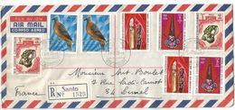NOUVELLES HEBRIDES MIXTE NEW HEBRIDES LETTRE REC SANTO 25.7.1972  POUR FRANCE - Légende Française