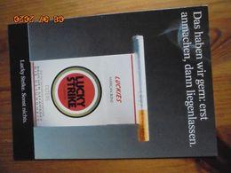 Carte Postale Publicitaire Allemand (Taschen 1996) 16,3 X 11,4 Cm - Lucky Strike. Sonst Nichts. Liegenlassen 1995 - Objets Publicitaires