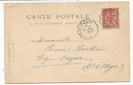 MOUCHON 10C CONVOYEUR LIGNE AFFREVILLE A ALGER 9 MAI 1902 CARTE ALGERIE ALGER TYPE ARABE - Poststempel (Briefe)