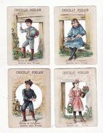 Chromo  CHOCOLAT POULAIN    Lot De 4    Enfants, Fleurs, Arrosoir, Livre Ballon Etc     10.6 X 7.6 Cm - Poulain