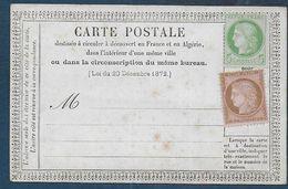 Cérès N° 53 Et 58 Neufs Sur Carte Non Utilisée - Marcophilie (Lettres)
