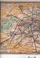 ! Verkehrsplan Metro Paris 1944 , Metropolitain, Plan, Format 17,7 X 13,8 Cm - Europa