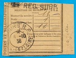 Récépissé De Mandat 37 TOURS RP Griffe REG SUPP (Registre Supplémentaire) - Marcofilia (sobres)