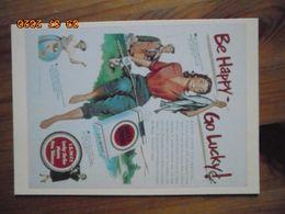 "Carte Postale Publicitaire USA (Taschen 1996) Reproduction 16,3 X 11,4 Cm. Lucky Strike. ""Be Happy - Go Lucky"" 1943 - Objets Publicitaires"