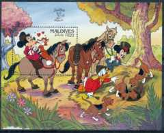 [91637]SUP//**/Mnh-MALDIVES - Walt Disney - Minnie, Mickey Et Donal à La Chasse Au Renard, B.D - Disney