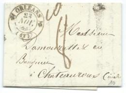 MARQUE POSTALE ORLEANS POUR CHATEAUROUX / 1839 / TAXE 8 - 1801-1848: Précurseurs XIX