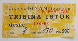 Football NK DINAMO ZAGREB  Vs PARTIZAN BELGRADE   Ticket - Eintrittskarten