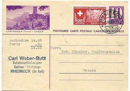 """162 - 17 - Entier Postal Avec Illustration """"Catagnola"""" Affranchisement Complémentaire """"Nachnahme"""" Rheineck 1939 - Entiers Postaux"""