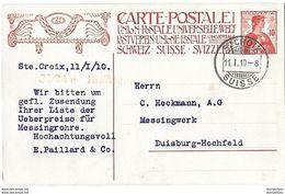 162 - 62 - Entier Postal Avec Superbe Cachet à Date Ste Croix Suisse 1910 - Ganzsachen