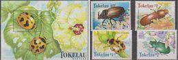Tokelau 1998, Beetles, MNH Bloc And Stamps Set - Tokelau
