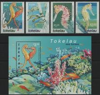 Tokelau 2001, Sea Horses, MNH Bloc And Stamps Set - Tokelau