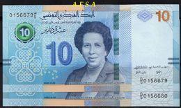 NEW-10 Dinars UNC-set Of 2Notes-// N -lot De 2 Billets-N° Consécutifs ( ENVOI GRATUIT) /(FREE SHIPPING) - Tunisie