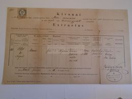 D172608  Old Document - Hungary MÓR MOOR Maria GABNCZ? -Tanninger Nándor Plébános   1882 - Nacimiento & Bautizo