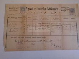 D172609  Old Document -  Strmilov -Czechia - Okres Hradec - Matej Vrabec 1883 - Nacimiento & Bautizo