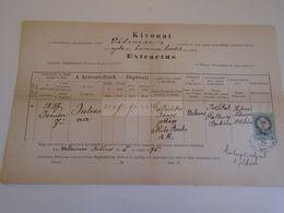 D172610  Old Document - Hungary Székesfehérvár -  VELENCE 1875 - Julianna Galambos - Meszlényi Károly Plébános - Nacimiento & Bautizo