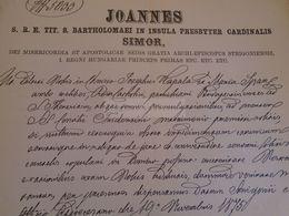 D172611  Old Document - Hungary Esztergom Strigonii - Joannes Simor Primas Priceps - - Kapala -Span - Nacimiento & Bautizo