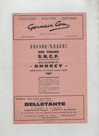 Horaire Des Trains SNCF En Gare D'Annecy 1965 1966 Hiver Cars Crolard Nombreuses Publicités - Chemin De Fer