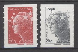 N° 590 Et 591 Y.T. Autoadhésif France Neuf ** Type Marianne De Beaujard Lettre Prioritaire 20g Rouge(4566)+ Ecopli Gris - Sellos Autoadhesivos