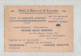 Carte Avec Note Au Verso Hôtel D'Alsace Et De Lorraine Beurier Senones Truites - Old Paper