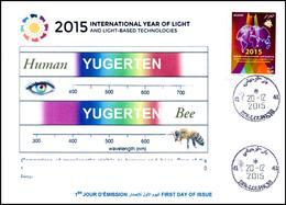 ARGELIA 2015 FDC Rare Cancellation International Year Of Light Lumière Luce Luz Bee Bees Abeille Biene Abeja Ape Bij - Api