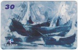 BRASIL I-622 Magnetic Telemar - Painting, Traffic, Boat - Used - Brésil