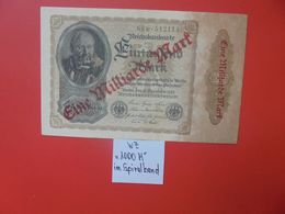 Reichsbanknote 1 MILLIARDE MARK 1922/23-2 CHIFFRES+1 LETTRE+ 6 CHIFFRES CIRCULER (B.16) - [ 3] 1918-1933 : Repubblica  Di Weimar
