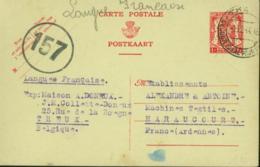 Belgique 1944 - Lettre Vers Harauccurt-France. Guerre 1940-45. Cachet De Contrôle Nº 157........  (VG) DC-7598 - Oorlog 40-45