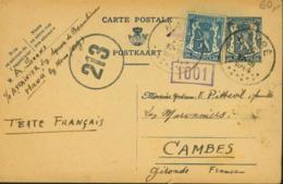 Belgique 1944 - Lettre Vers Cambes-France. Guerre 1940-45. Cachet De Contrôle Nº 213+1001........  (VG) DC-7601 - Oorlog 40-45