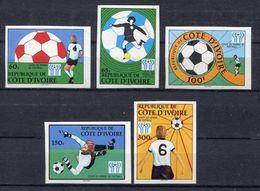 105. IVORY COAST 1978 SET/5 IMPERF STAMP FOOTBALL . MNH - Ivoorkust (1960-...)