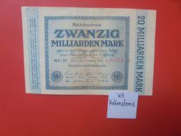 """Reichsbanknote 20 MILLIARDEN MARK 1923 """"HAKENSTERNE""""-6 CHIFFRES CIRCULER (B.17) - [ 3] 1918-1933 : República De Weimar"""