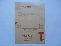 VIEUX PAPIERS - CARTE-REPONSE : TINTIN - Guerin Boutron