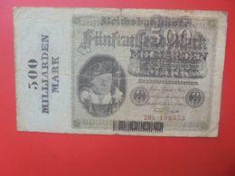 """Reichsbanknote 500 MILLIARDEN/500 MARK 1923 SERIE """"G"""" CIRCULER (B.17) - [ 3] 1918-1933 : Repubblica  Di Weimar"""