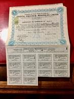 ORIENTAL  INDUSTRIAL  MONOPOLIES  LIMITED ------ Certificat  D' Une  Action  D' Une £ - Industrie