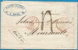 """(T-080) Belgique - Précurseur - LAC De MONS (en Rouge) Vers Meursault + """"... Par Valenciennes 5"""" + Ambulant Au Verso - 1830-1849 (Belgique Indépendante)"""