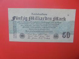 """Reichsbanknote 50 MILLIARDEN MARK 1923 """"GRAUBLAU"""" MIT FZ:H CIRCULER (B.17) - [ 3] 1918-1933: Weimarrepubliek"""