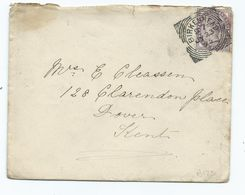 Great Britain Birkenhead D7 With Railway Dover Station Office Backstamp  Squared Circle 1895 - Covers & Documents
