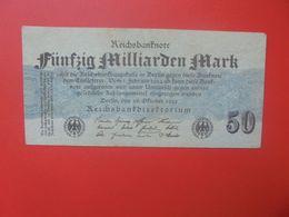 """Reichsbanknote 50 MILLIARDEN MARK 1923 """"GRAUBLAU"""" OHNE FZ CIRCULER (B.17) - [ 3] 1918-1933: Weimarrepubliek"""