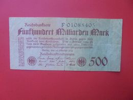 Reichsbanknote 500 MILLIARDEN MARK 1923-8 CHIFFRES CIRCULER (B.17) - [ 3] 1918-1933 : Repubblica  Di Weimar