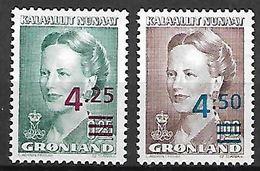 GROENLAND    -   1995  .  Y&T N° 260 / 261 **.    Reine Margrethe II .  Surchargés. - Neufs