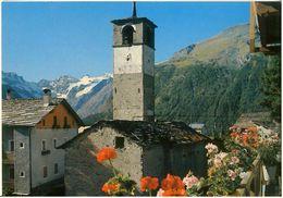 Cart342 Cogne Gimillian M. 1787 Chiesa Campanile Scorcio Panoramico Sullo Sfondo Il Gran Paradiso M. 4061 - Iglesias Y Catedrales