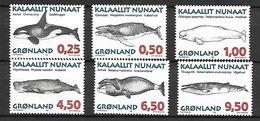 GROENLAND    -   1996  .  Y&T N° 266 à 271 **.   Orques, Baleines, Marsouins, Dauphins.... - Neufs