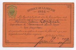 E476 Carte Service De La Presse 1932 Fredéric Conquet Photographe Photo - Vecchi Documenti